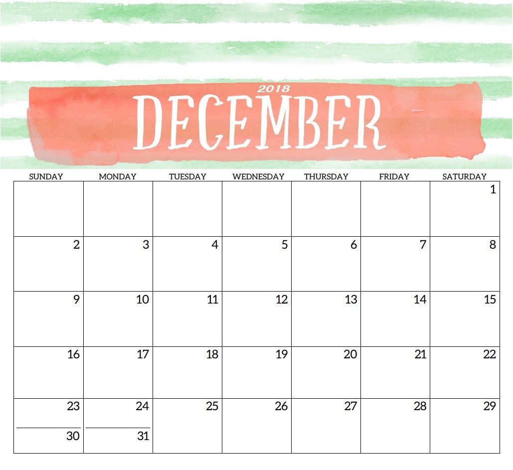 december 2018 printable calendar template print free calendar::December 2018 Calendar Printable Template
