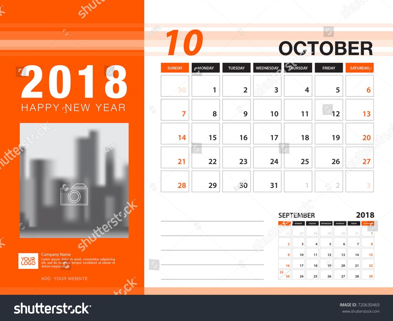 desk calendar 2018 template october 2018 stock vector 720630469 Calendar October 2018 Template erdferdf