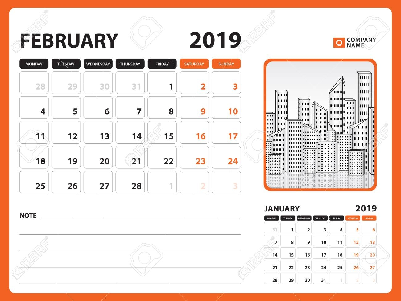 desk calendar for february 2019 template printable calendar::February 2019 Calendar Template Printable