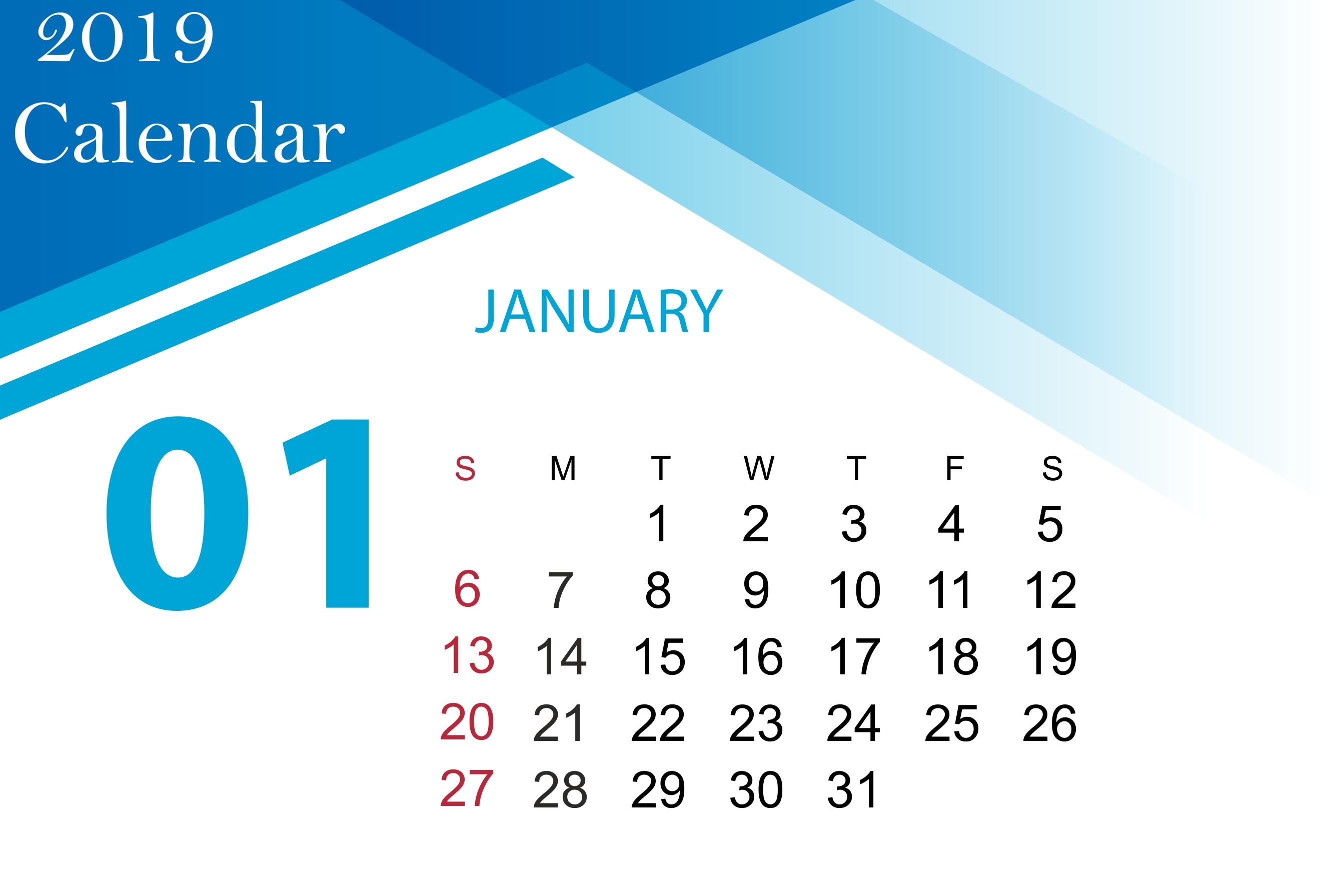 download 2019 january pdf excel word calendar template september::January 2019 Calendar Excel