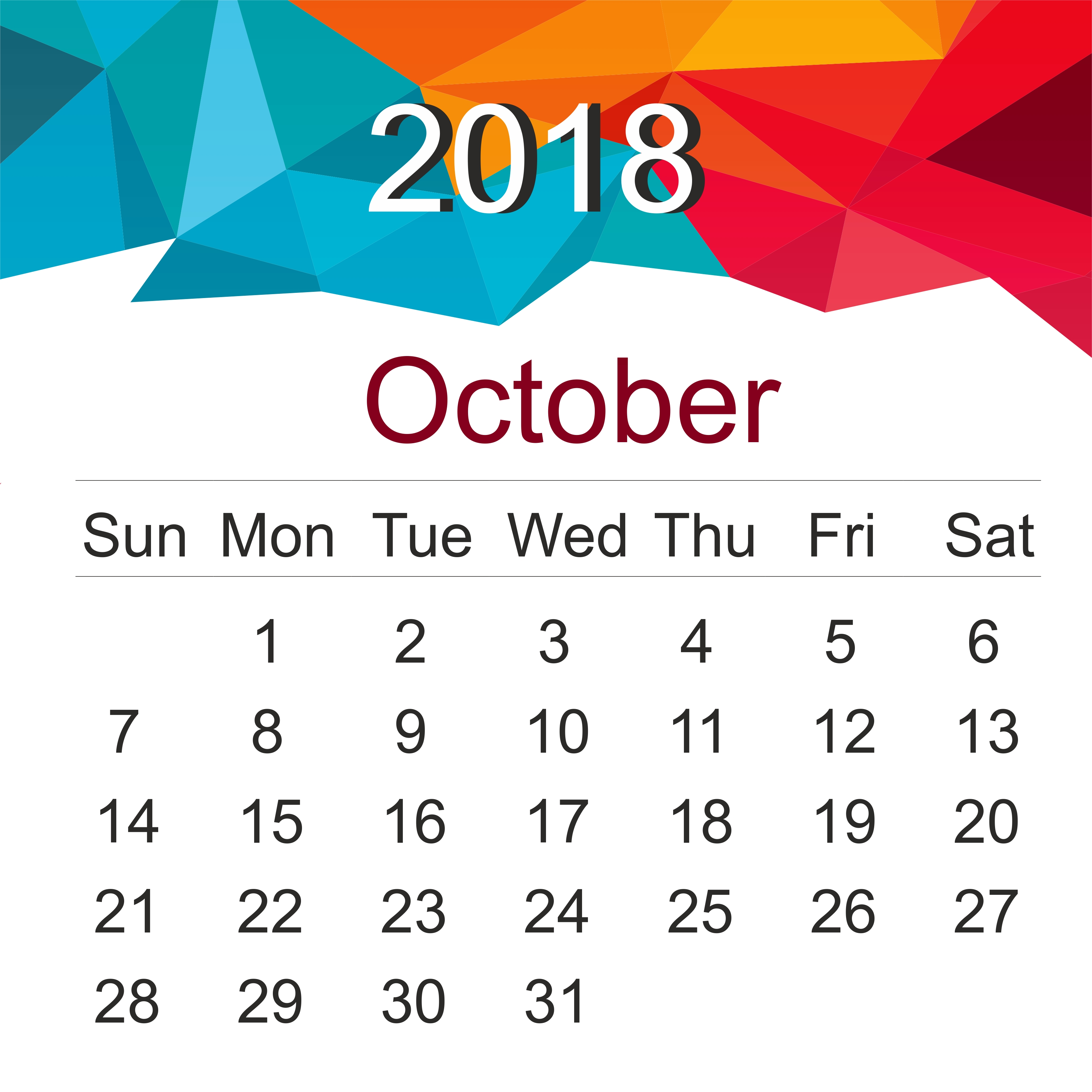 download free october 2018 landscape portrait calendar template Calendar October 2018 Template erdferdf