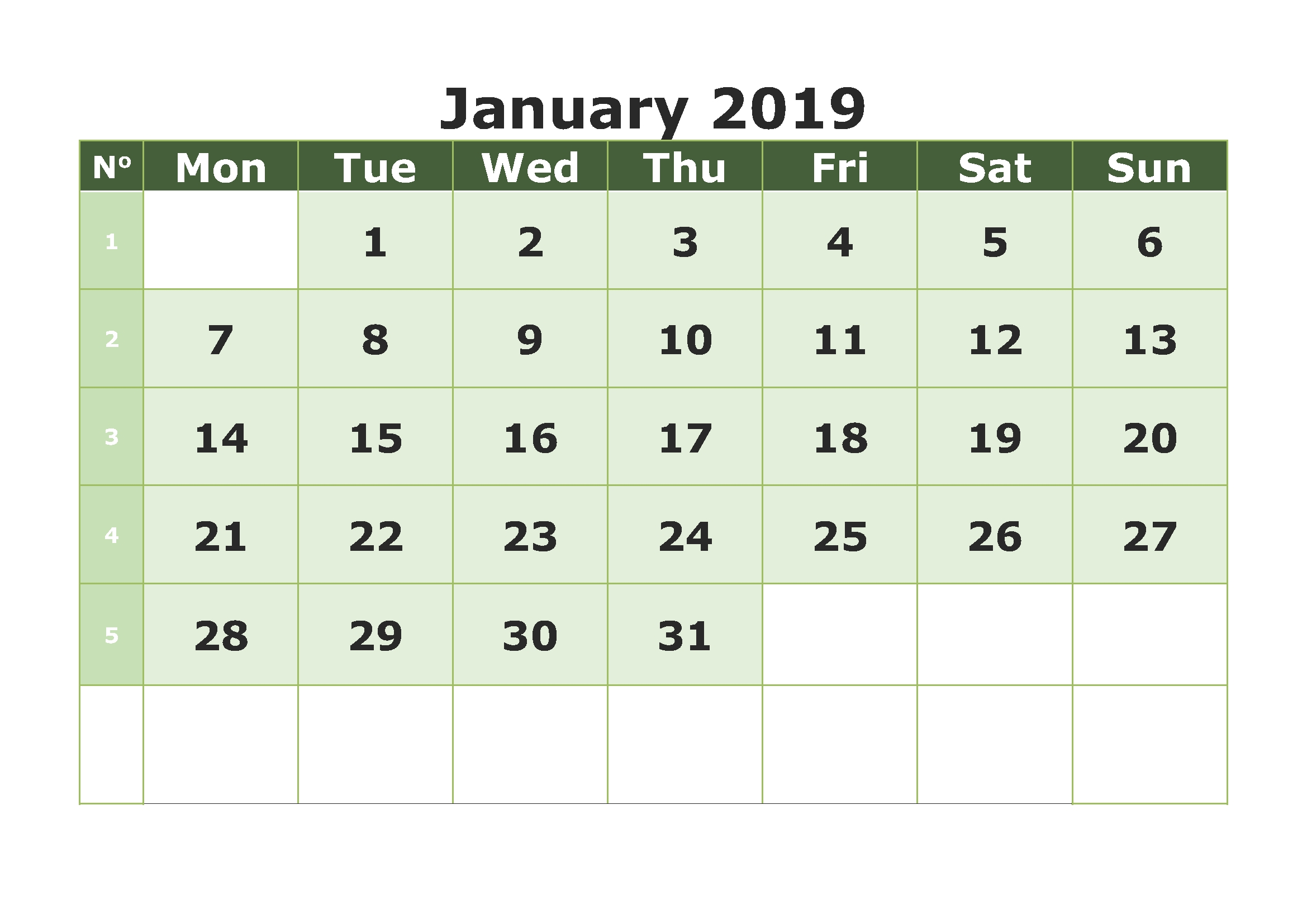 download free printable january 2019 calendar pdf excel word::January 2019 Calendar Word