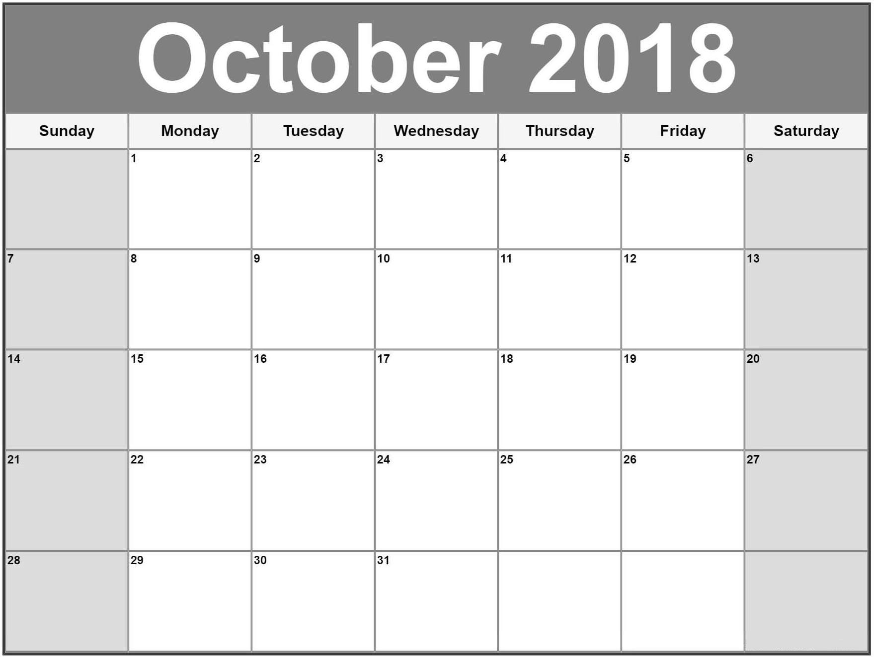 download october 2018 pdf excel word template september 2018 Calendar October 2018 Template erdferdf