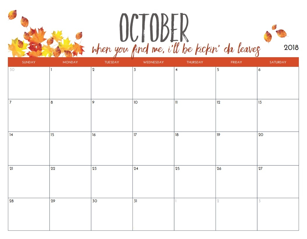 download printable october 2018 calendar template august 2019 Printable October 2018 Calendar erdferdf