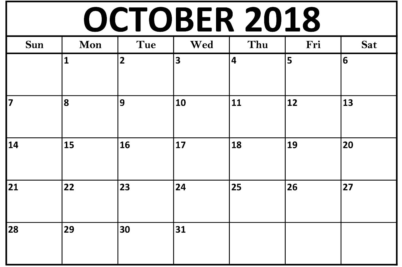 download printable october 2018 calendar template november 2019 October 2018 Calendar Printable Template erdferdf