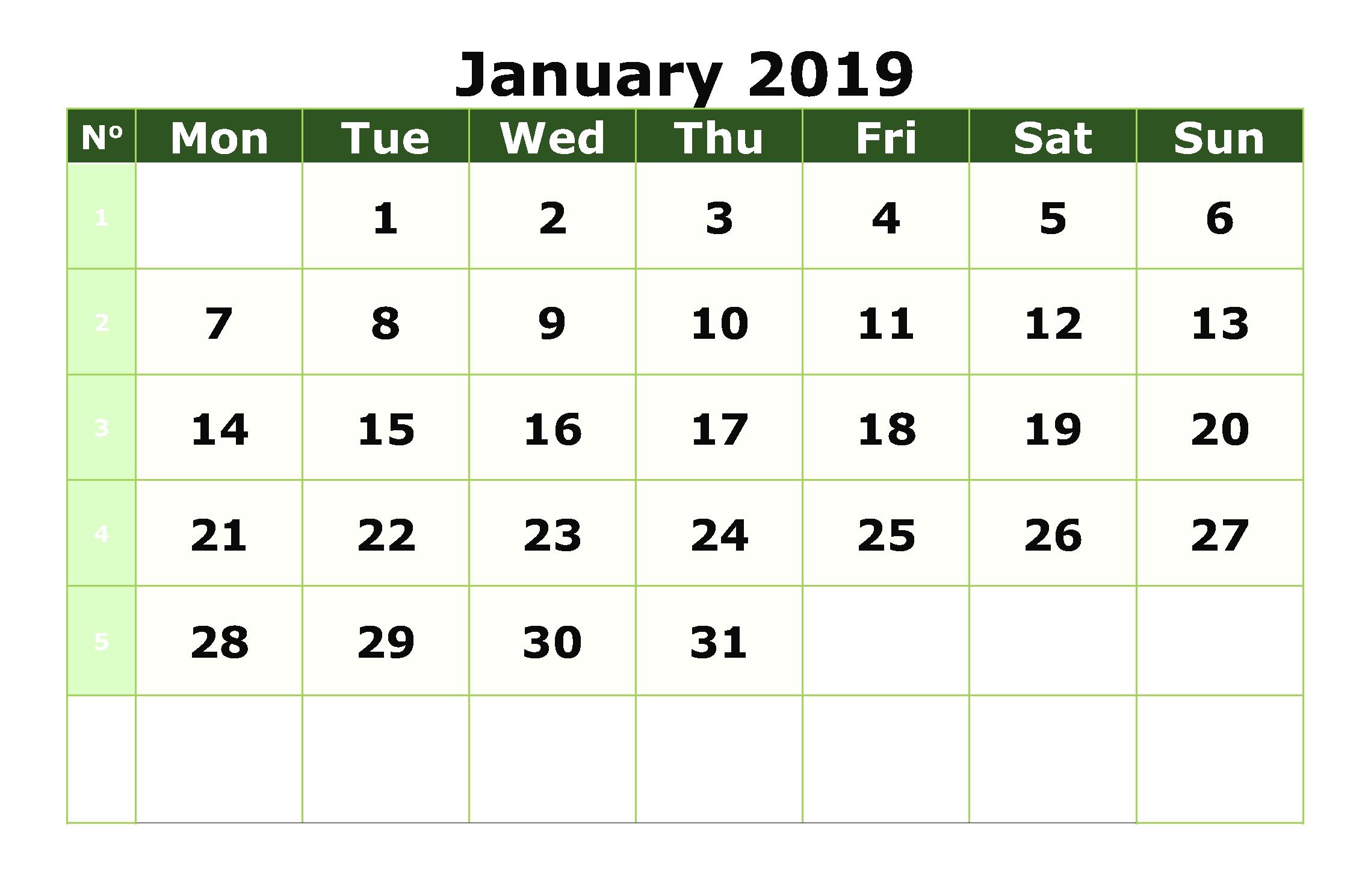 editable january 2019 calendar free printable printable calendar::Print January 2019 Calendar