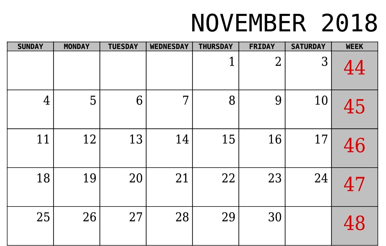 editable november 2018 calendar pdf templates::November 2018 Calendar