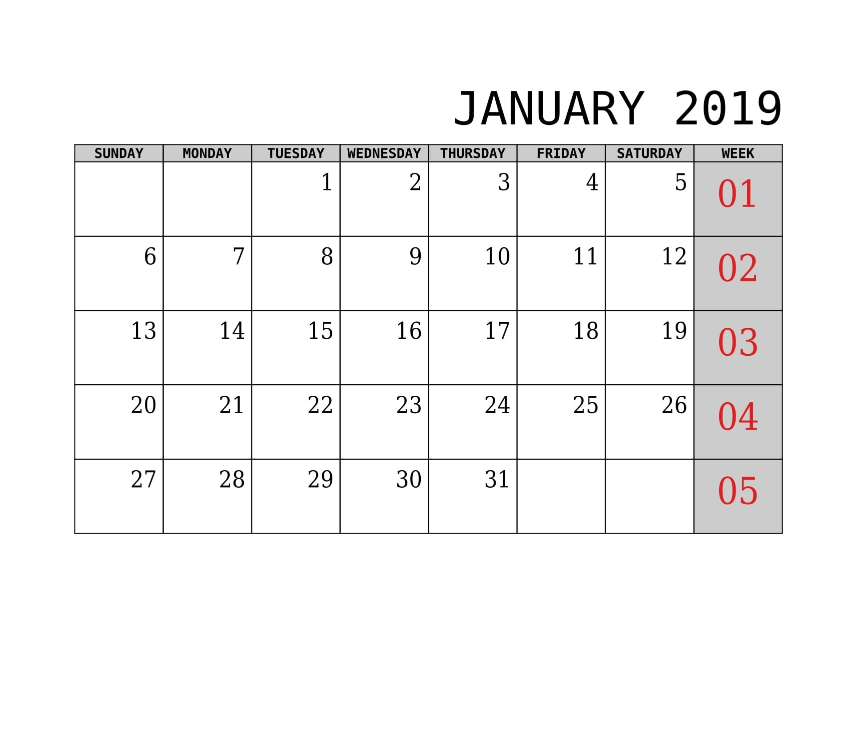 excel pdf word 2019 january printable::January 2019 Calendar Word
