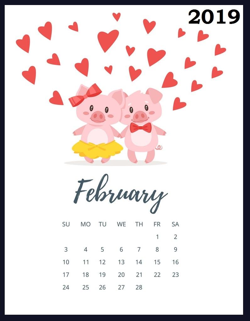february 2019 calendar calendar 2019::Cute February 2019 Calendar