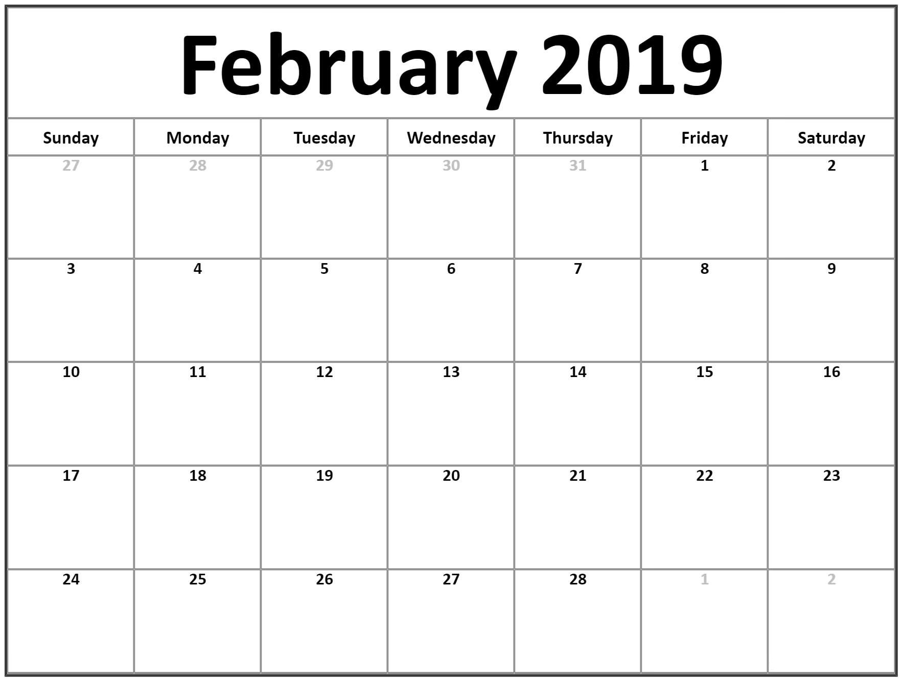 february 2019 calendar calendar template printable::February 2019 Calendar with Notes