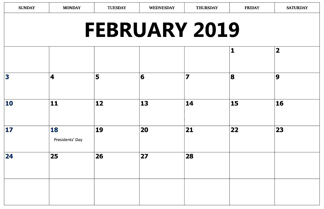 february 2019 calendar cute best calendar printable pdf template::February 2019 Calendar with Notes
