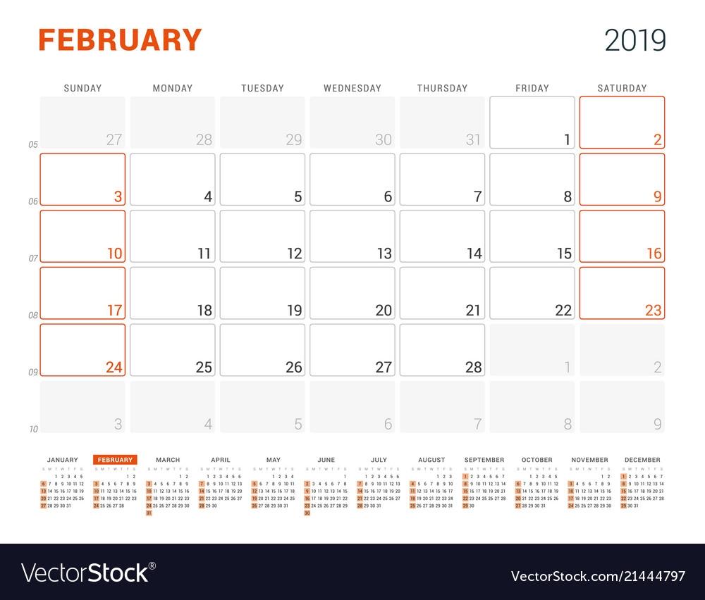 february 2019 calendar planner for 2019 year vector image February 2019 Calendar erdferdf