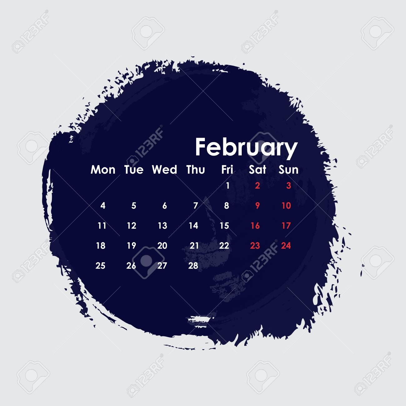 february 2019 calendar templatestarts from mondayvector::February 2019 Calendar Template