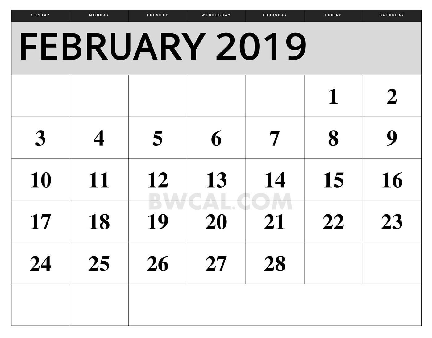 february 2019 calendar with holidays weekly printable striking::February 2019 Calendar Template Printable
