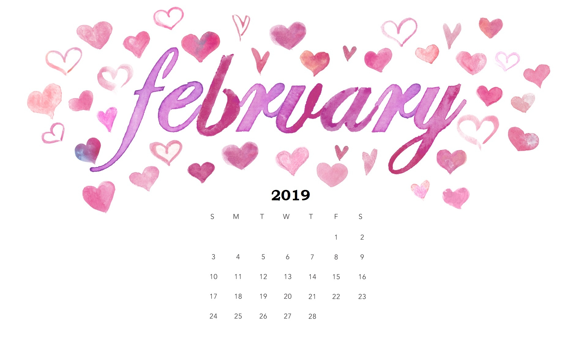 february 2019 calendar::Cute February 2019 Calendar