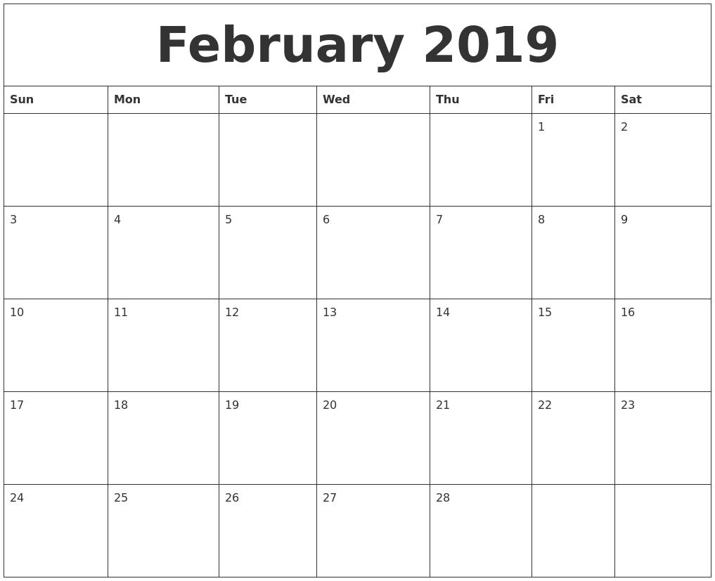 february 2019 calendar::February 2019 Monthly Calendar