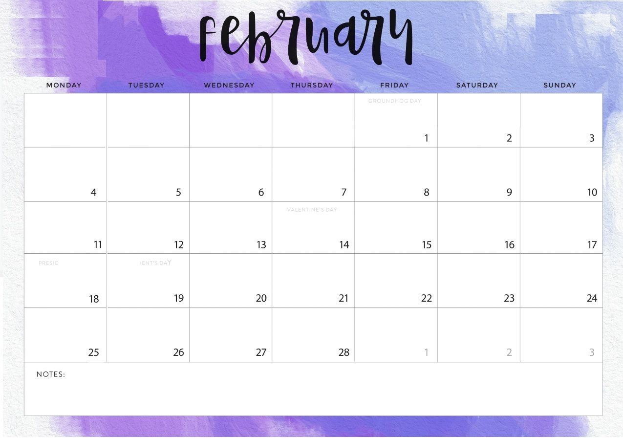 february 2019 desk calendar printable::Cute February 2019 Calendar