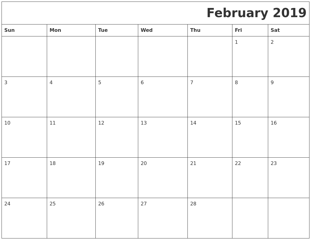 february 2019 download calendar::February 2019 Calendar with Notes