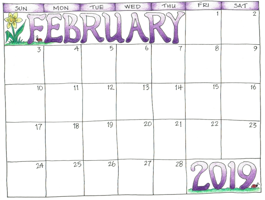 february 2019 editable download ::February 2019 Calendar Template