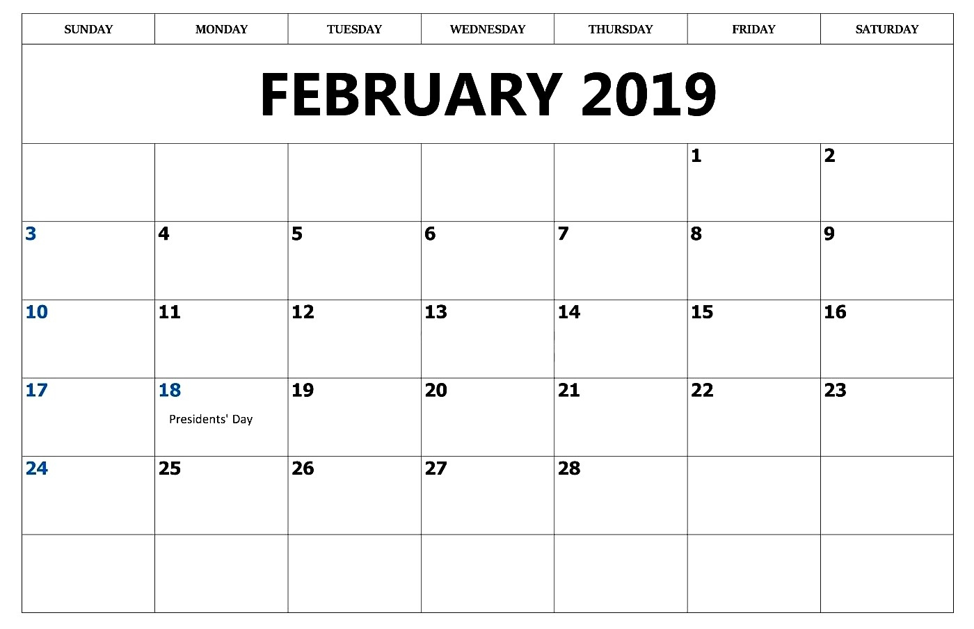 february 2019 editable printable::February 2019 Calendar