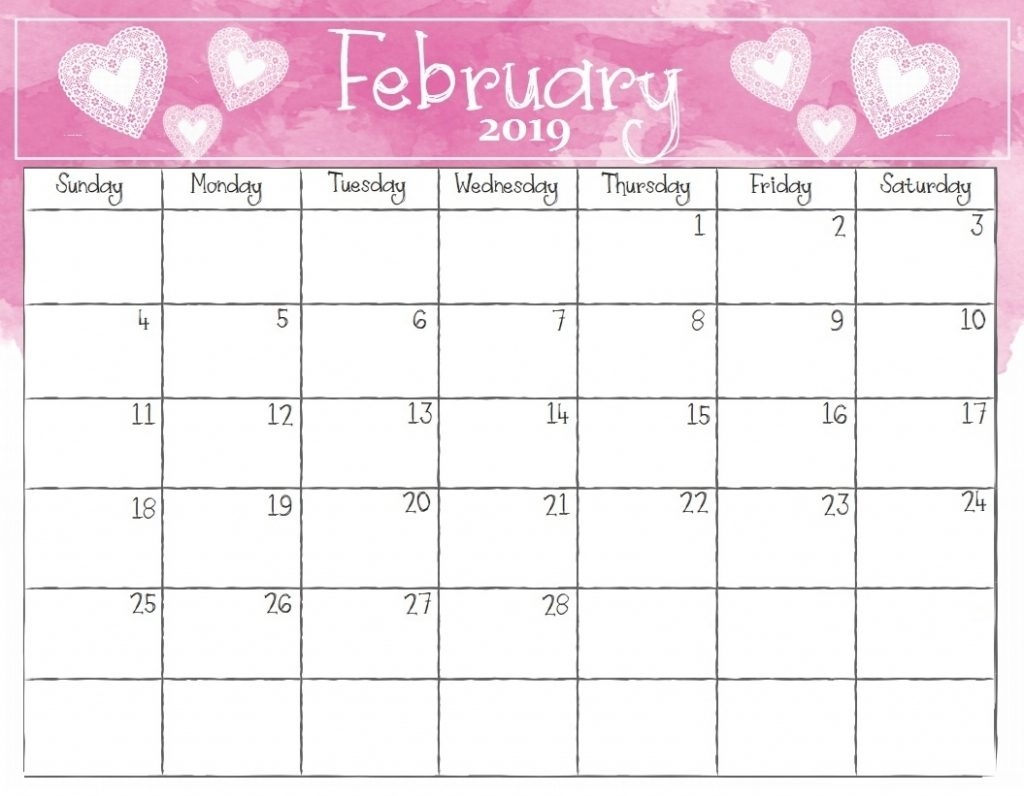 february 2019 free calendar template download::February 2019 Calendar Template Printable