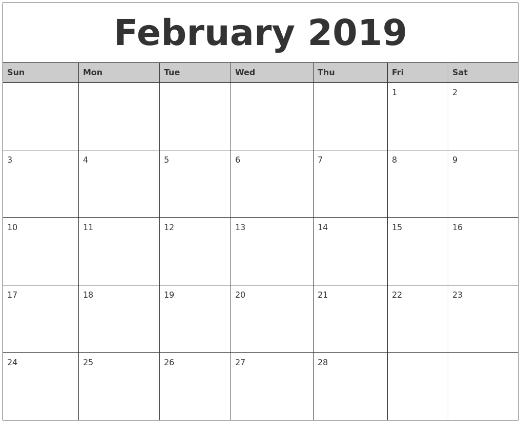 february 2019 monthly calendar printable::February 2019 Monthly Calendar
