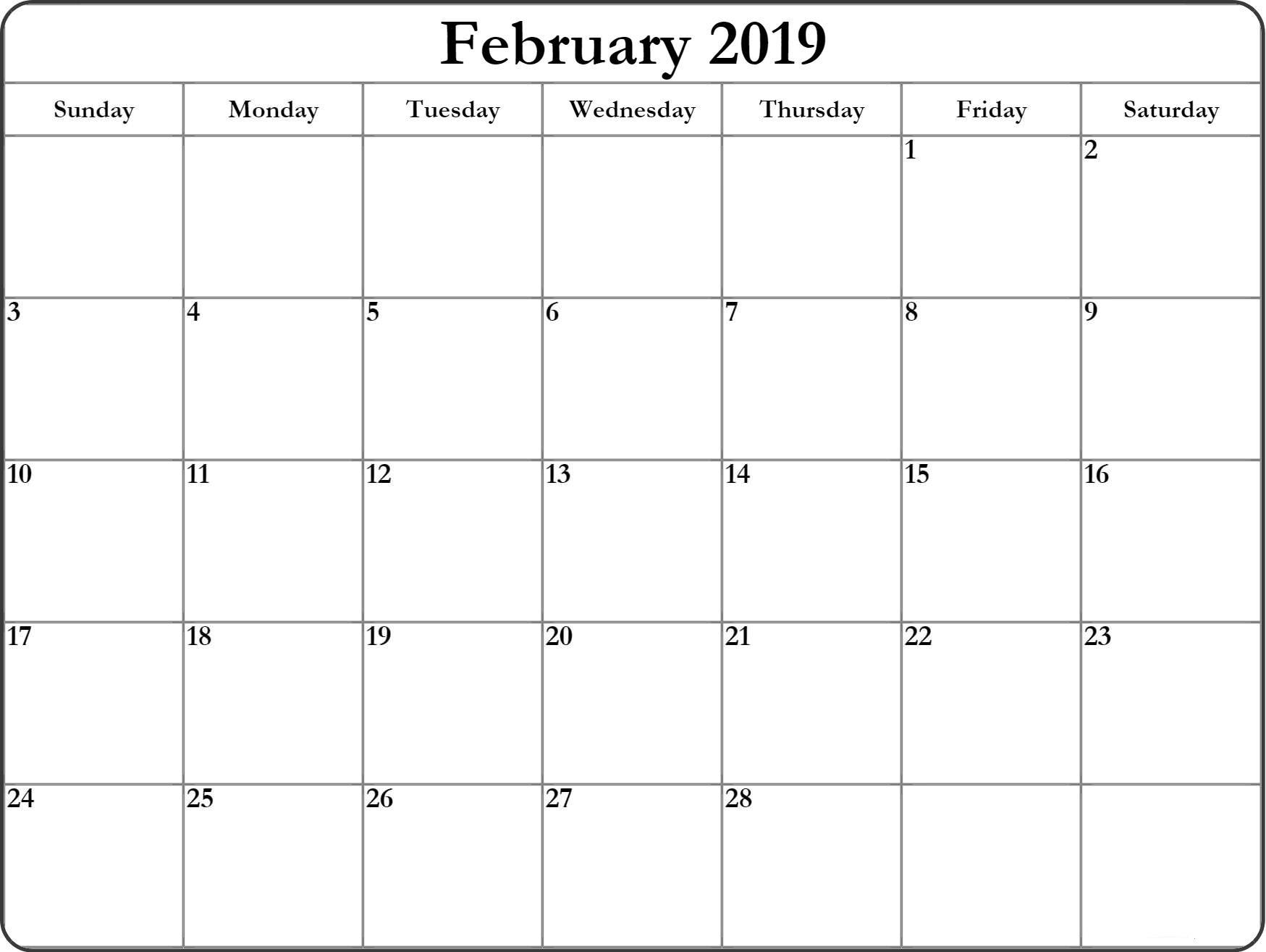february 2019 printable::February 2019 Calendar