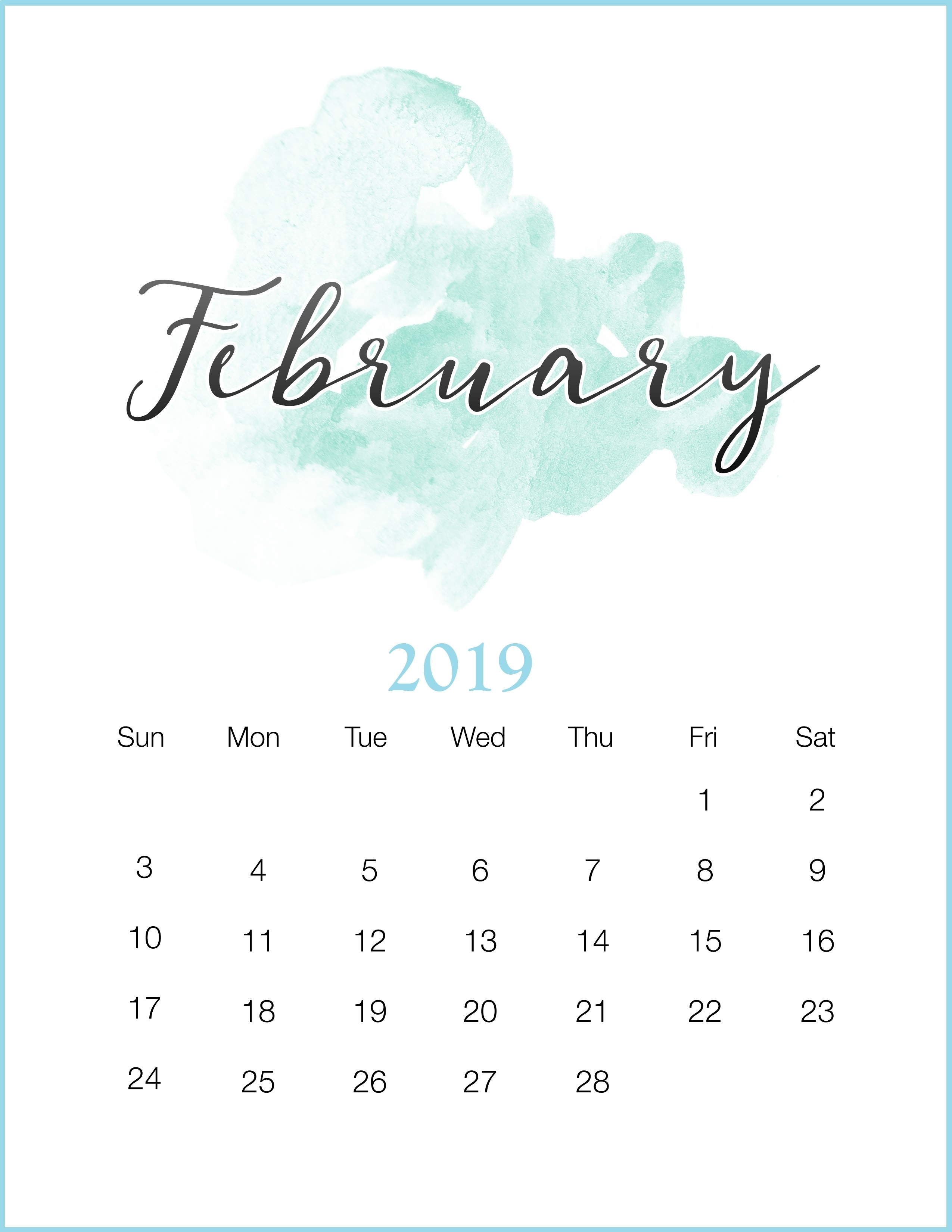 february 2019 template printable::February 2019 Calendar