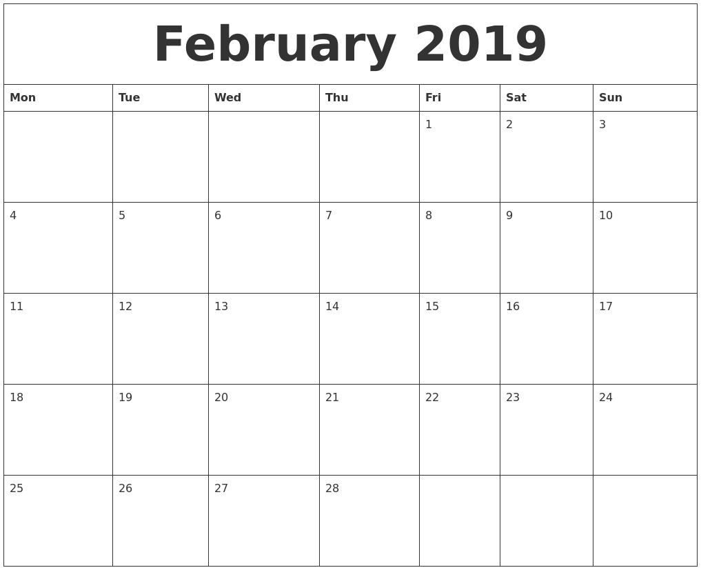february 2019::February 2019 Calendar Template