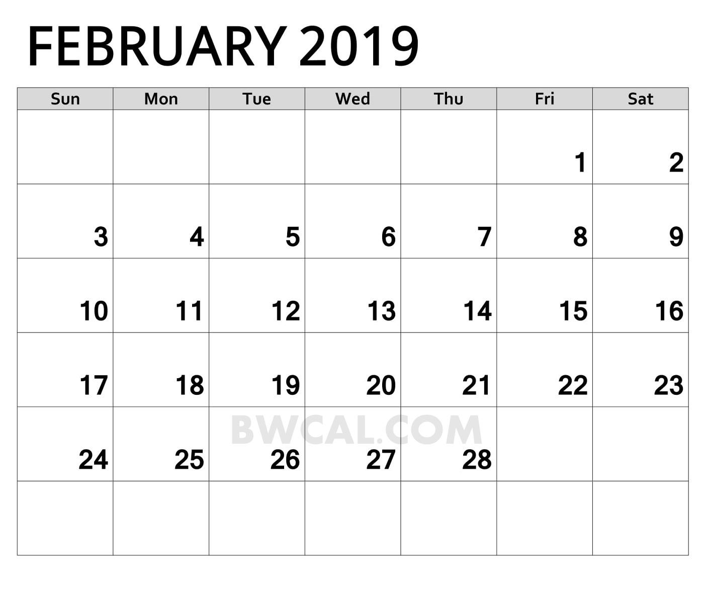 februay 2019 calendar printable calendar template printable February 2019 Calendar erdferdf