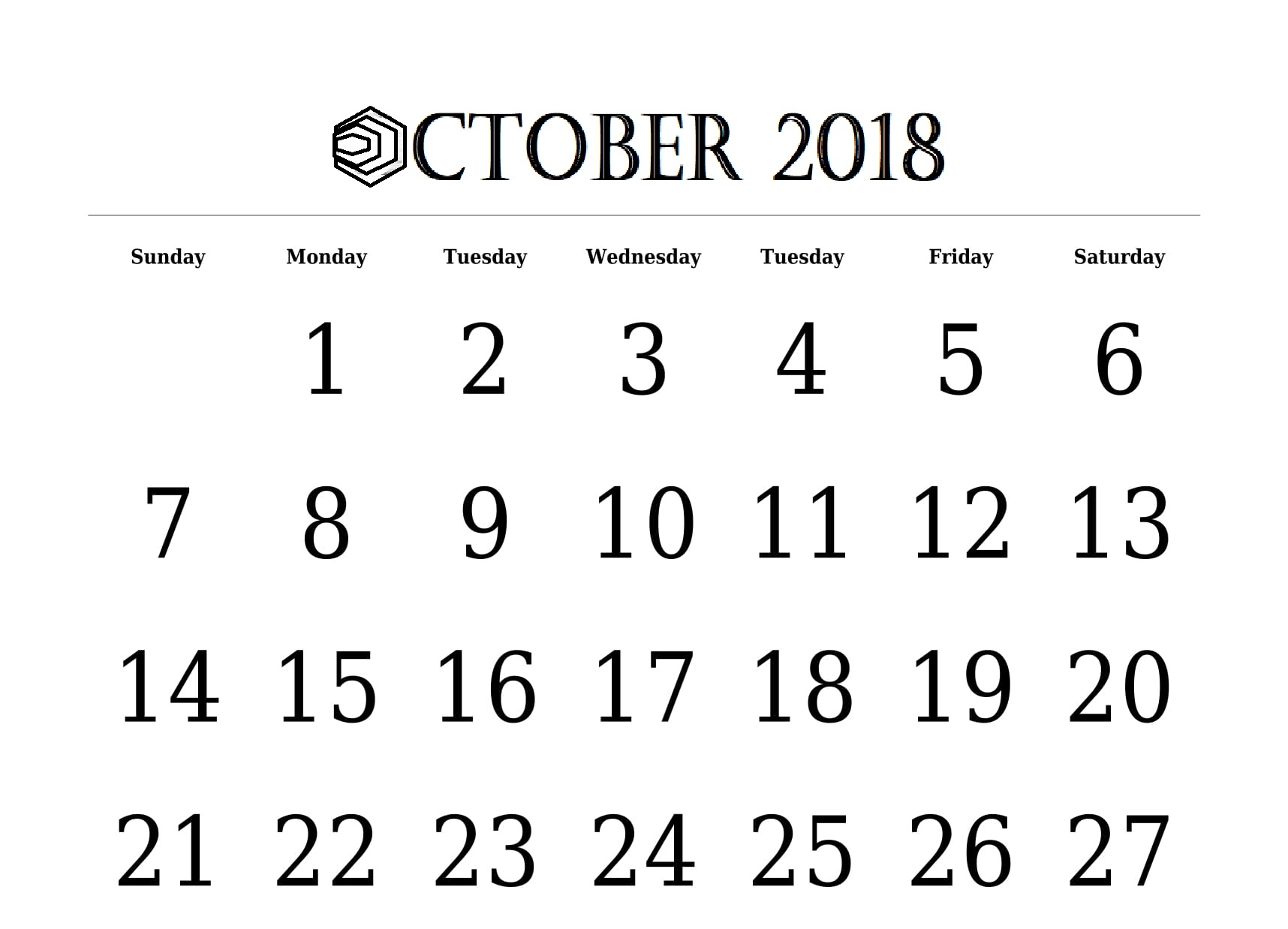 free 2018 calendar october landscape portrait template free Free October 2018 Calendar Word Document erdferdf