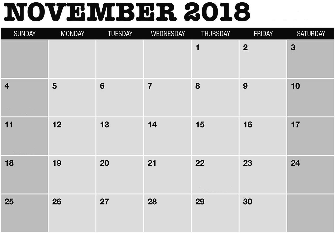 free 2018 november calendar a4 printable template december 2018::November 2018 Calendar