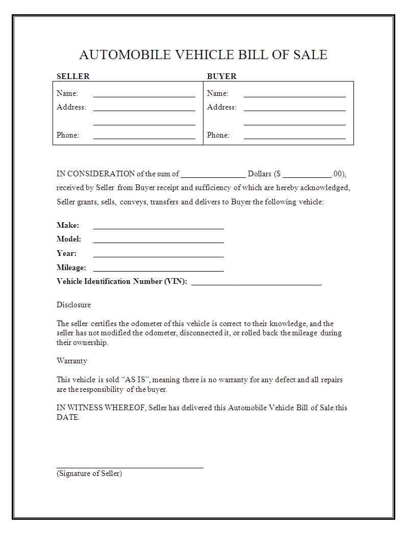 free bill of sale template car vatozatozdevelopmentco::Car Bill of Sale Form Template Printable