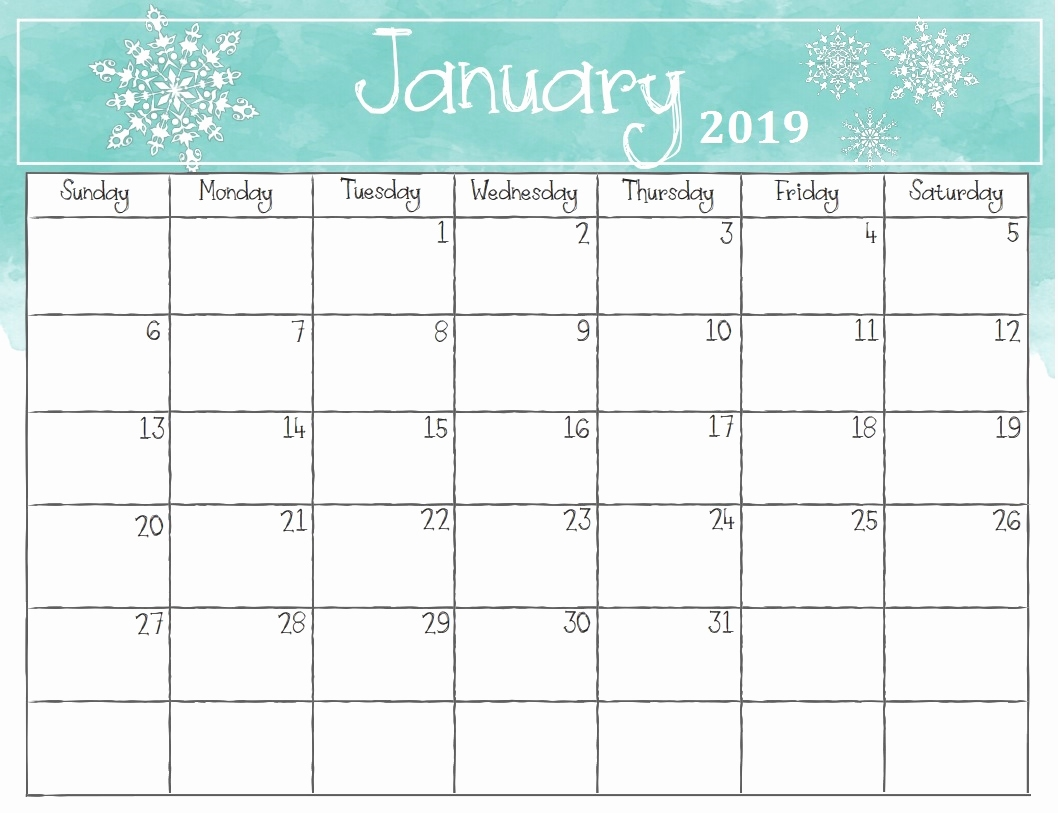 free cute printable 2019 monthly calendar january 2019 calendar::January 2019 Monthly Calendar