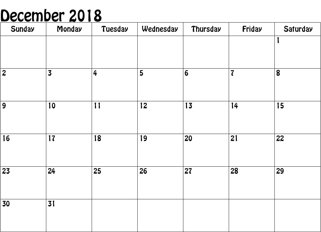 free december 2018 calendar a4 printable template april 2019 calendar::December 2018 Calendar Printable Template