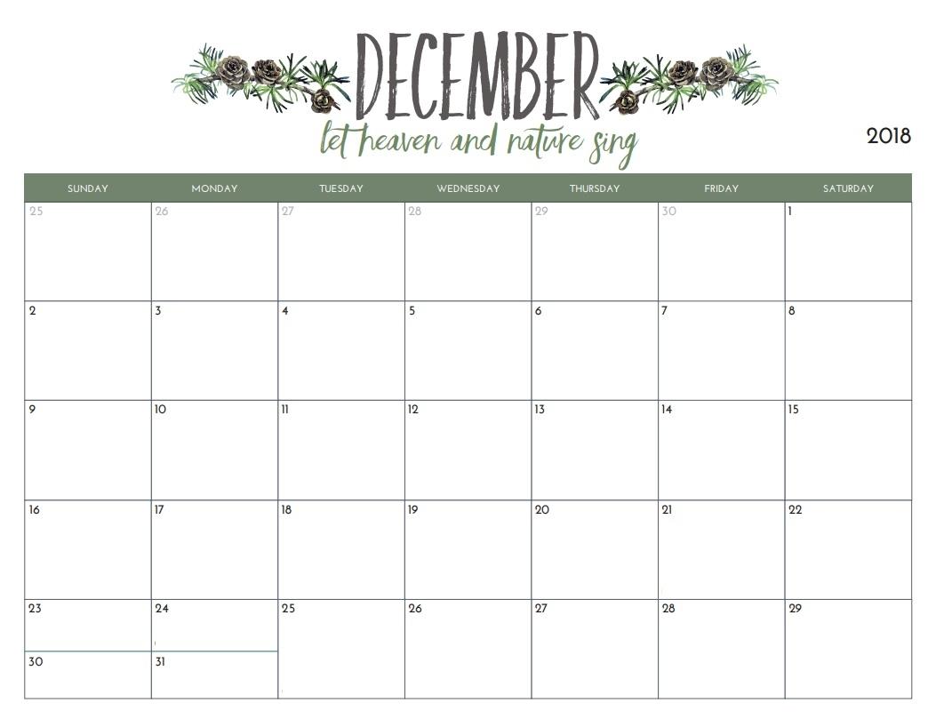 free december 2018 calendar editable printable template public::December 2018 Calendar Printable Template
