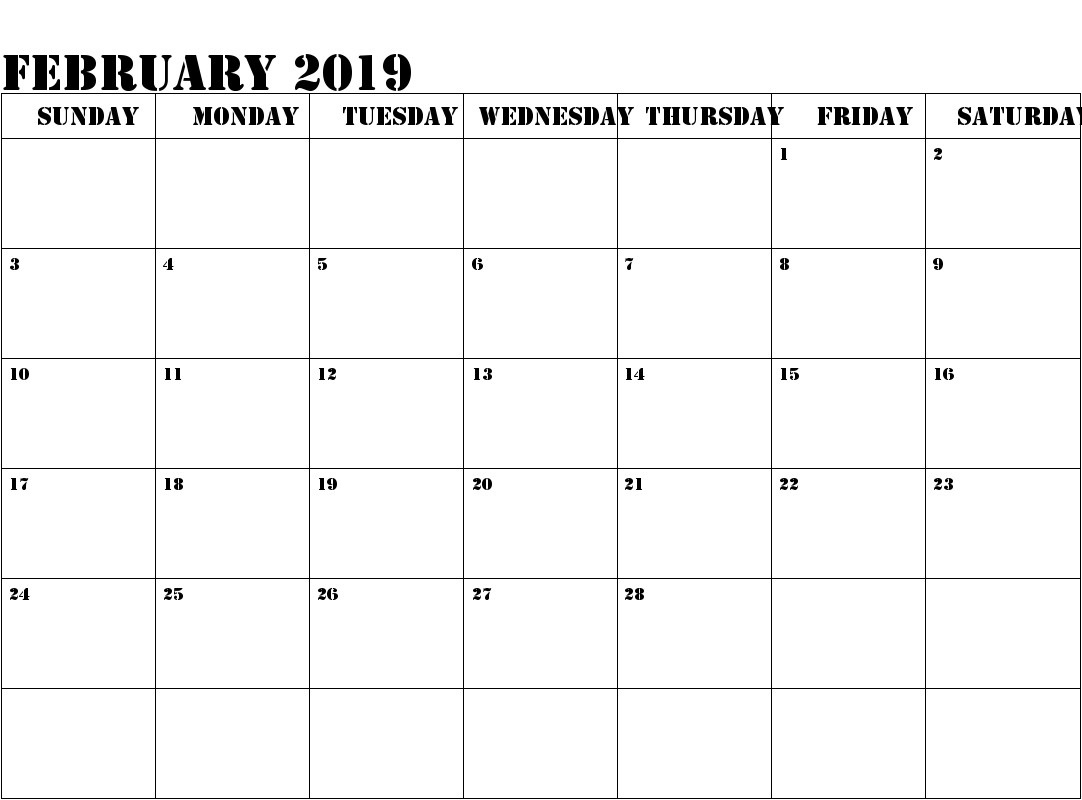 free download february 2019 with holidays::February 2019 Calendar