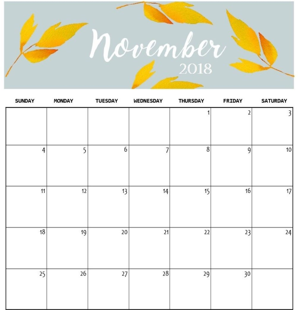 free download printable october november 2018 calendar august::November 2018 Calendar Printable