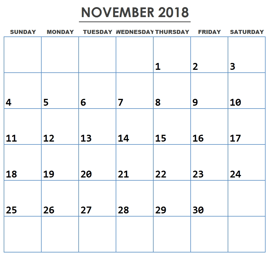 free editable november 2018 calendar templates pdf download::November 2018 Calendar Pdf