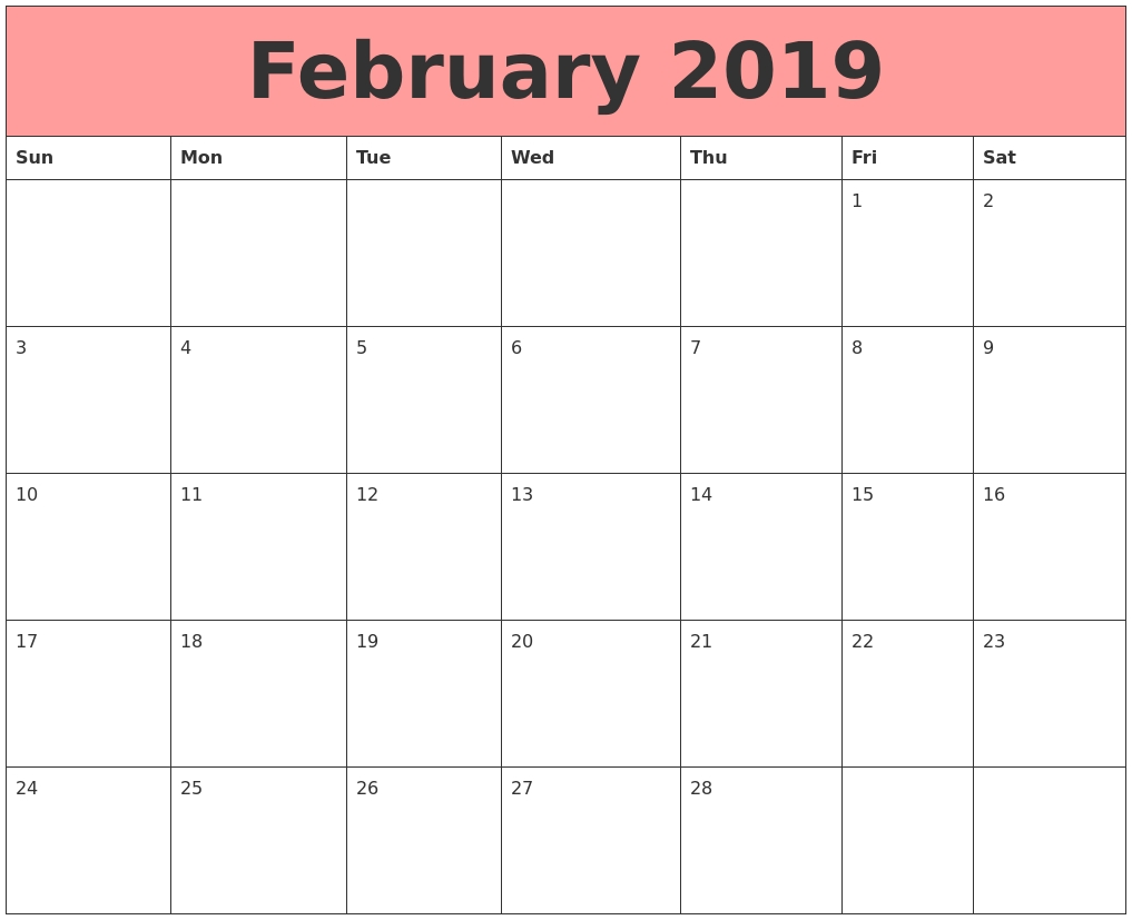 free february 2019 printable calendar templates free printable::February 2019 Calendar Template Printable
