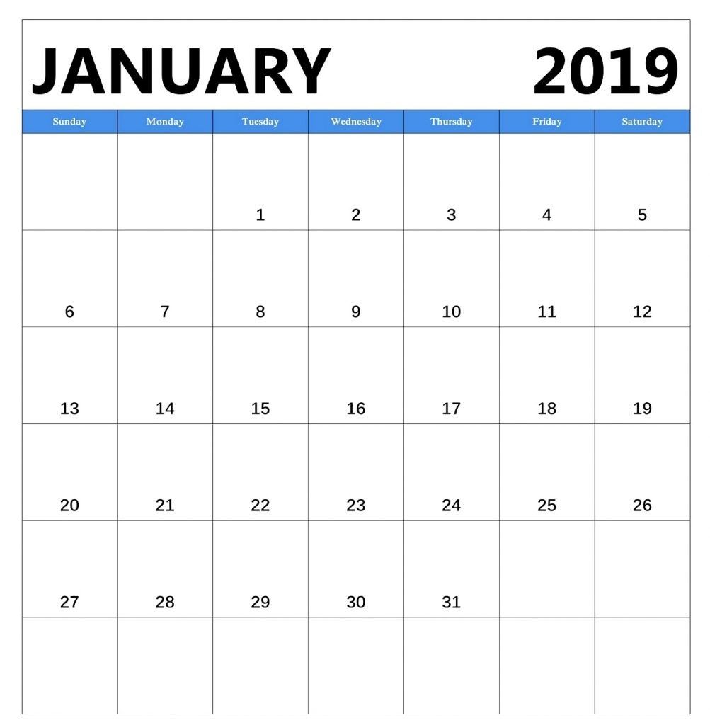 free january 2019 calendar a4 printable template april 2019 calendar::January 2019 Calendar Templates