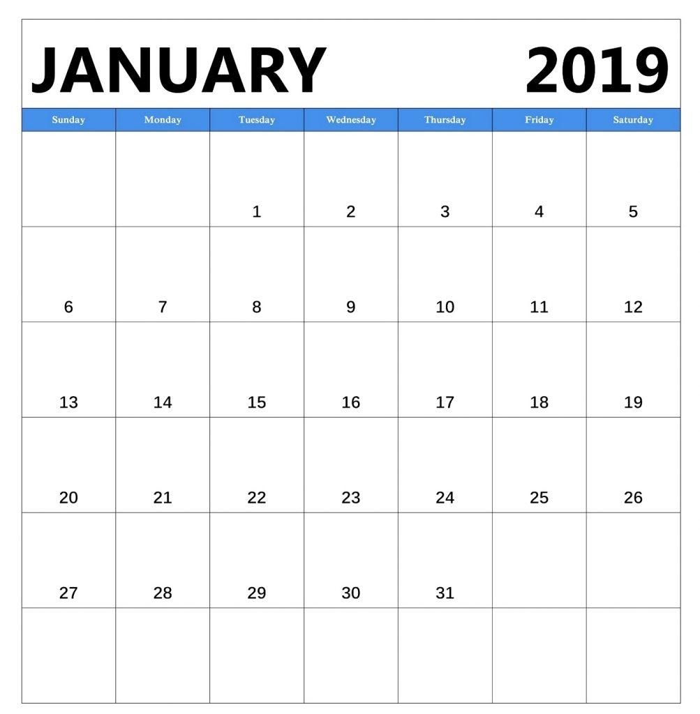 January 2019 Calendar Templates