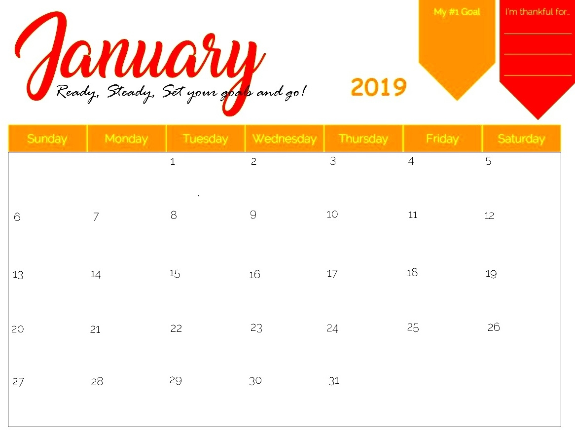 free january 2019 calendar pdf word excel download february::January 2019 Calendar Excel