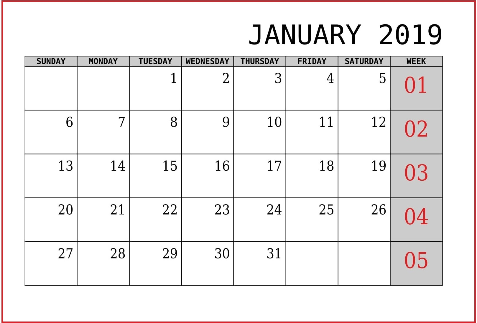 free january 2019 calendar template download february 2019 calendar::January 2019 Calendar Printable Template