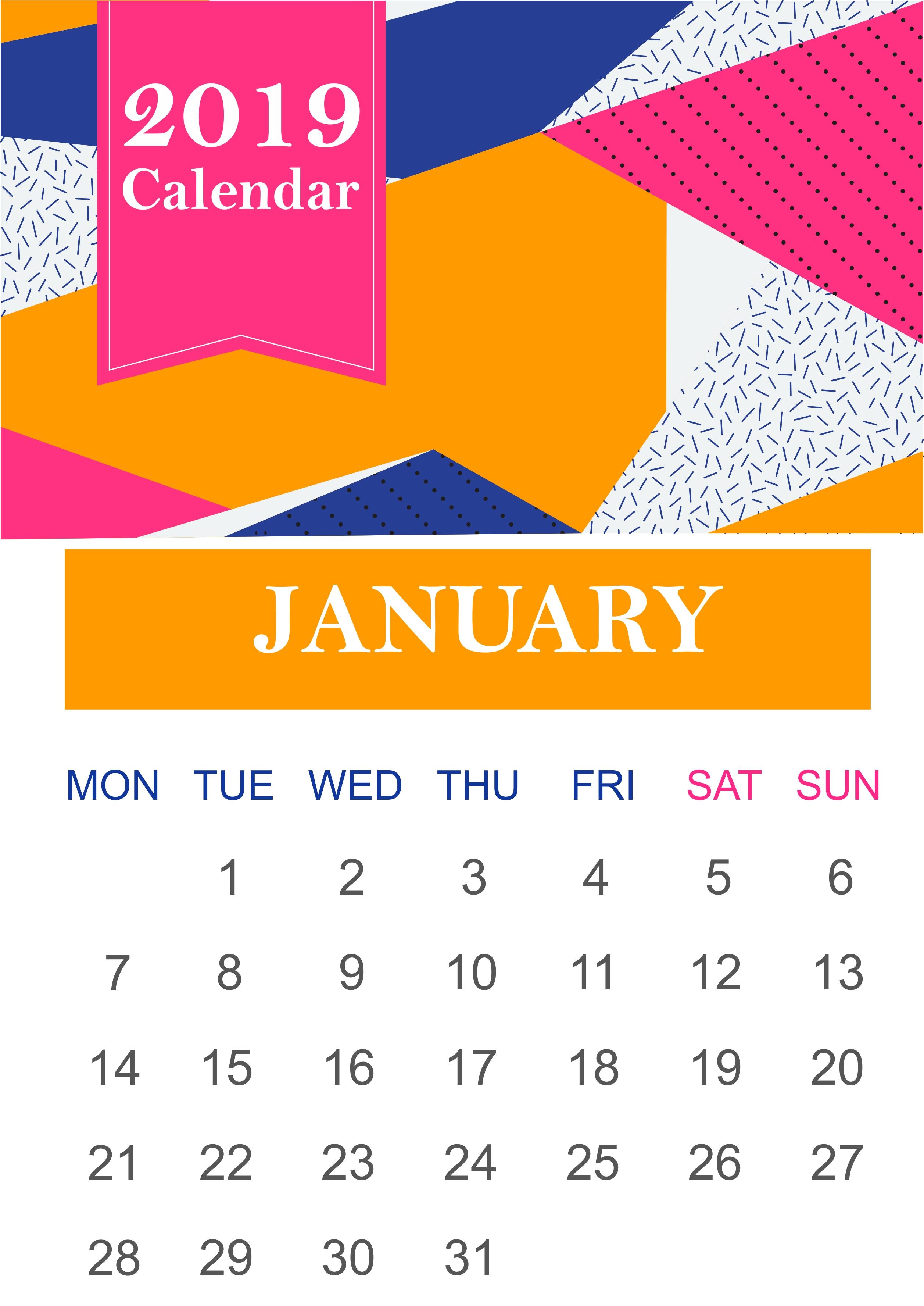 free january 2019 landscape and portrait calendar printable template::January 2019 Calendar Printable Template