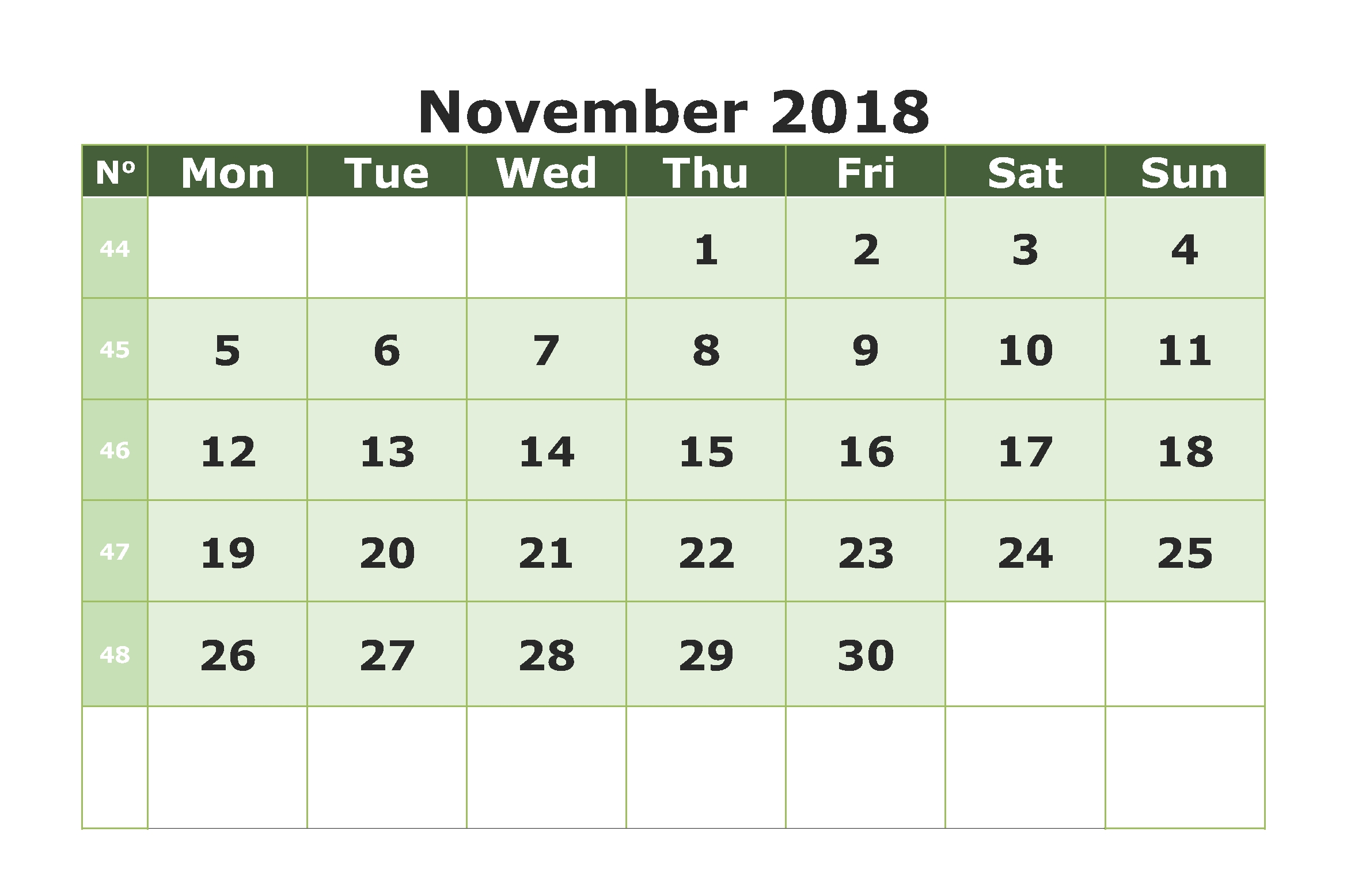 free november 2018 a4 calendar printable templates october 2018::November 2018 Calendar Printable Template