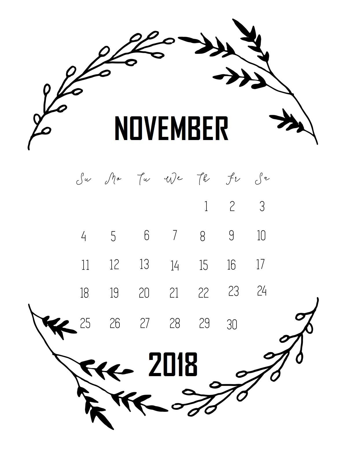 free november 2018 calendar printable::November 2018 Calendar Printable