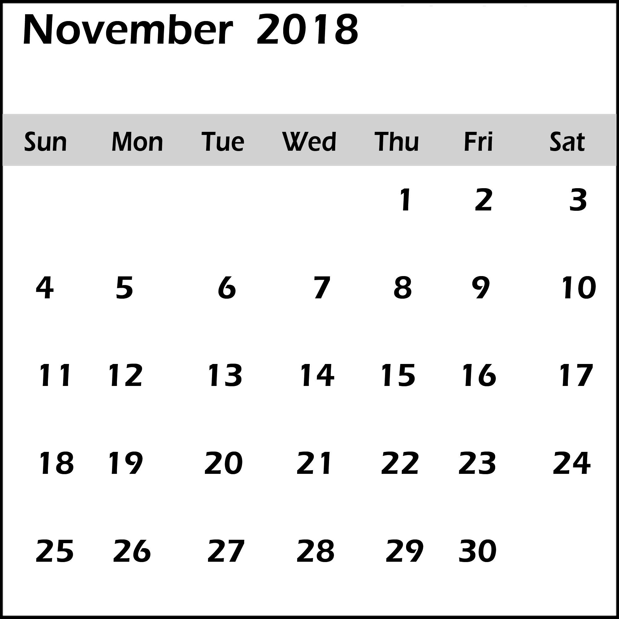 free november 2018 calendar word pdf excel template november::November 2018 Calendar Pdf