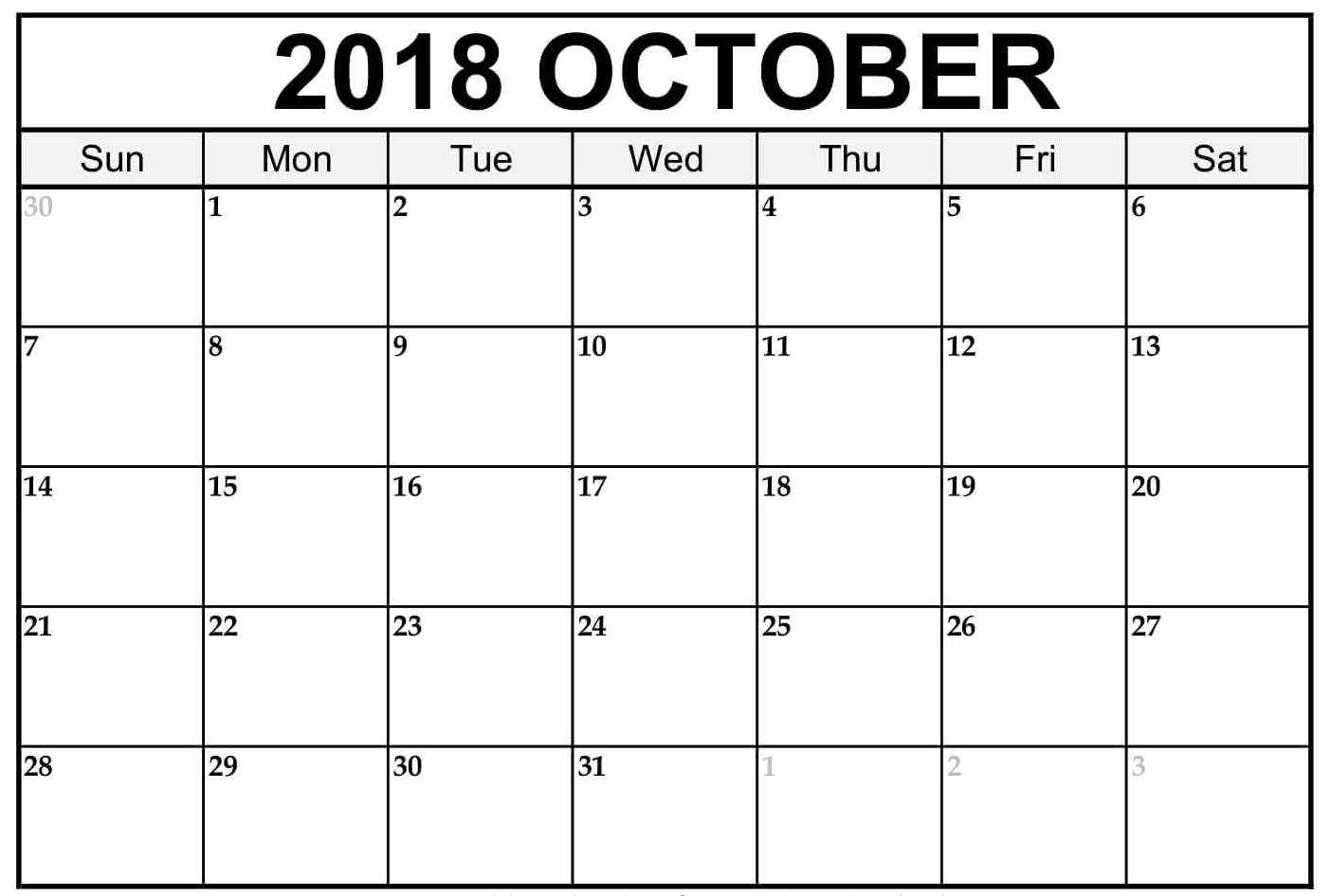 free printable 2018 calendar templates Calendar October 2018 Printables erdferdf