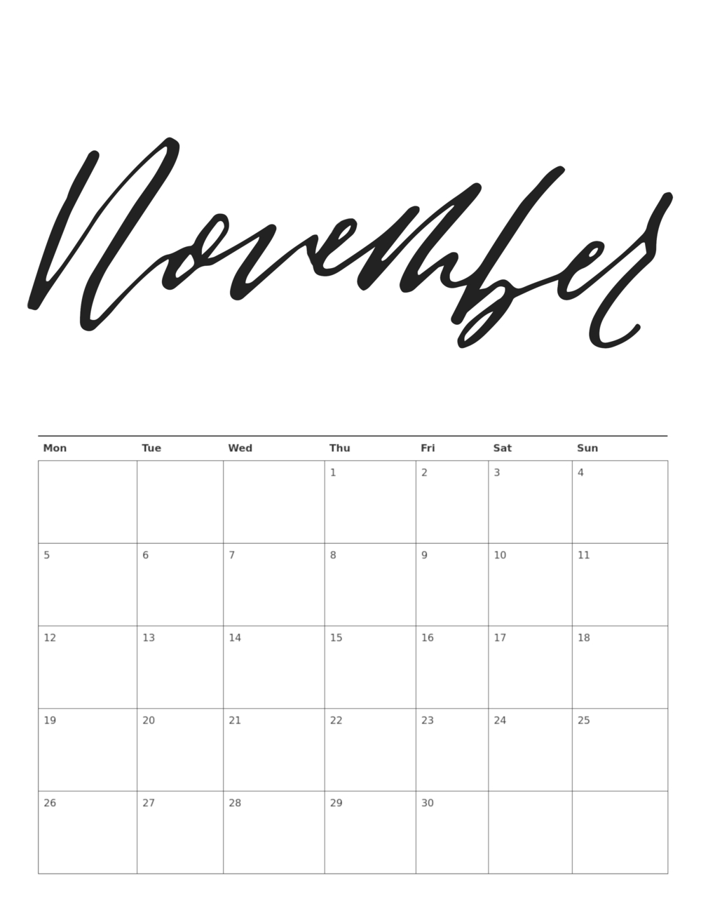 free printable 2018 calligraphy or brush lettering calendar::November 2018 Calendar